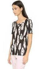 Vince Plume feather Print Scoop Neck Linen Tee Top Small NWT $135