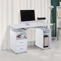 Computer Table Desk PC Desktop Drawer Home Office Furniture White
