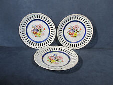 Plates Made in Japan Reticulated Pierced Hand Painted Flowers Blue Band Set of 3