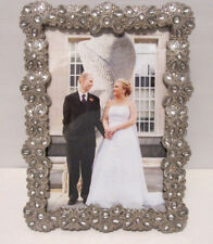 """Silver Plated with Crystals 4""""X6"""" Wedding Picture Frame"""