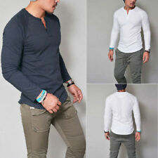 Men's Henley Shirt V Neck Long Sleeve Muscle Tee T-shirt Casual Top with Botton