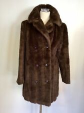"VINTAGE ASTRAKA DARK BROWN FAUX FUR COAT SIZE 36"" APPROX UK 14"