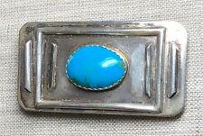 VINTAGE RARE SHIRLEY HENRY (SH) Navajo Kingman Turquoise STERLING BUCKLE SIGNED