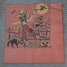 """Vintage HALLOWEEN PAPER NAPKIN Scarecrow~Cat~Witch~JOL Graphics 5"""" New Old Stock"""