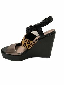 Kenji Black Leopard Shoes Wedge Heel Size 38 Ankle Strap Buckle With Box