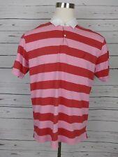 Nautica Mens Polo Shirt Size Large L Pink Orange Short Sleeve White Collar