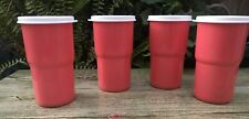Tupperware Tabletop Stacking Tumblers 12 oz set of 4 - Coral Color New