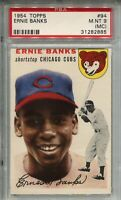 1954 Topps Baseball #94 Ernie Banks Rookie Card RC Graded PSA Mint 9 MC Cubs