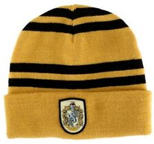 Harry Potter House of Hufflepuff Colors Beanie Hat with Crest NEW UNWORN