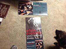 2 Elvis Costello Promo Poster 24x12. perforated album Cd Rare i.i