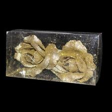 Christmas Decoration 2 Pack 6cm Clip on Glitter Roses - Gold