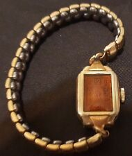 Antique BANNER Ladies Watch Manual Wind w Amber Crystal on Stretchy Band UNIQUE