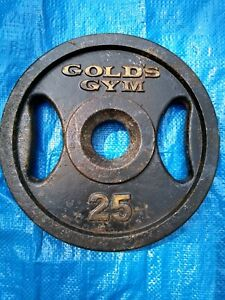 ONE 25 LB. VINTAGE GOLD'S GYM WEIGHT PLATE  TOTAL 25 POUNDS