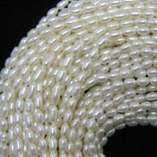"5~6mm white freshwater pearl rice beads 15""strand"