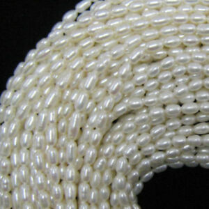 "8-9mm white freshwater pearl rice beads 15""strand"