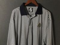 FootJoy Prodry Lisle Blue White Striped Golf Polo Shirt Men's Size XL