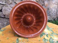 Antique French Pottery Redware kugelhopf Cake mold Alsace Pudding Tericotta