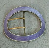 Top Quality Sterling Silver 18ct Gold and Lilac Guilloche Enamel Buckle