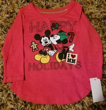 NEW DISNEY Mickey and Minnie Mouse Christmas- Holiday Shirt- 3T