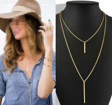 Hot Women Gold Plated Long Sweater Chain Vertical Bar Pendant Necklace Jewelry H
