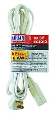 Extension Cord - Indoor and Outdoor -2 Feet Ec1012 White 16 Awg by Harlyn