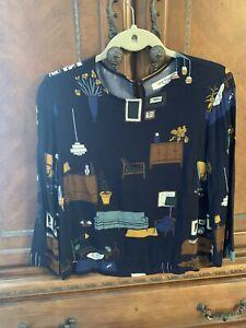 Nice Things Paloma S Mid Mod Furniture Print Blouse 3/4 Sleeve Navy Size 8 EUC