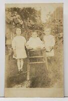 RPPC Adorable Children in Yard for Photo Jamestown Pa Estate Postcard H2