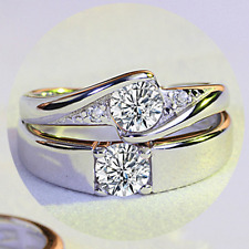 1Pair Her And His Couple Promise Crystal Ring 925 Silver Bridal Wedding Ring Set
