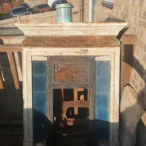 Antique Victorian Coalbrookdale Cast Iron Tiled Combination Fireplace Victorian