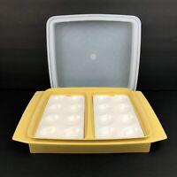 Vintage Tupperware 4 Piece Deviled Egg Keeper Carrier 723 3 Harvest Gold