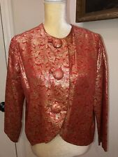 Vintage Lilli Of California Red Gold Metallic Thread Jacket Top Medium