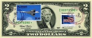 $2 DOLLARS 2003 STAR STAMP CANCEL THE CONCORDE COMMERCIAL AVIATION $500