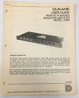 Vintage Dukane User Guide Remote Powered Mixer Preamplifier Model 2A68 Operating