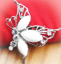 NEW SILVER BUTTERFLY CRYSTAL BROOCH PIN VINTAGE VICTORIAN ANTIQUE LADIES COSTUME