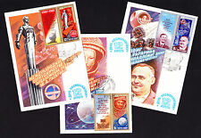 1981 Set of 3 Maximum postcards PC Russia Russian 20th First Manned Space Flight