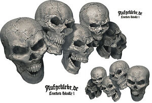 Skull Totenkopf Aufkleber Skull Autoaufkleber - Cracked Skullz 01