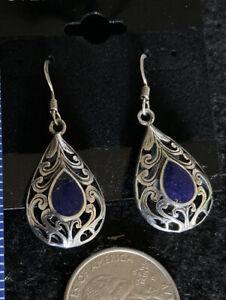 Open Filigree Sterling Silver Lapis Lazuli Earrings Southwestern Hook Drops