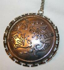 Large Etched Open Cross Rim Doubled Fishes Pisces Silvertone Pendant Necklace