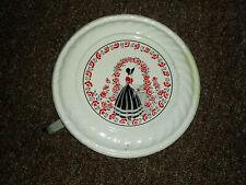 "Vtg Metal Chimney Flue Cover-lady w roses-8"" diameter"