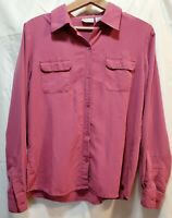 Women's Top Size M  White Stag Button-up Long Sleeve Collared Pink Shirt Blouse
