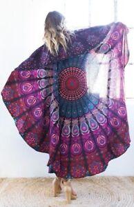 "Indian Round Mandala Table Cloth 72"" Beach Blanket Ethnic Hippie Cotton Yoga Mat"