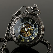 Pocket Skeleton Watch Mechanical Black Chain Men's White Hands Stainless Steel