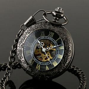 Pocket Skeleton Watch Mechanical Black Chain Men's White Hands Stainless Steel