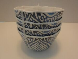 222 Fifth Blue Beige Crackle RUSTIC MEDALLION Appetizer Bowls 100% Melamine NEW