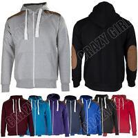 New Mens Suede Patch Fleece Zip Hoody Hoodie Sweatshirt Top Size S M L XL XXL