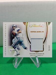 2020 Flawless Super Bowl Swatches SP /25 #6 Roger Staubach Dallas Cowboys R6220J