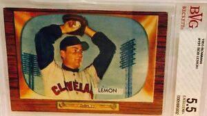 1955 BOWMAN Baseball Card BOB LEMON #191 Cleveland Indians HOF (BVG 5.5 EX++)