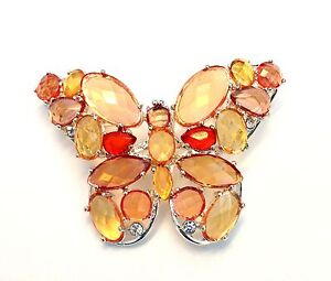 Butterfly Brooch Pin Silver Plated Metal Clasp Multi-Color Crystal Stone Gifts