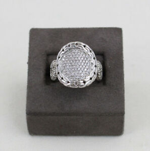 John Hardy 925 Sterling Silver Pave Diamond Classic Chain Oval Ring Size 7