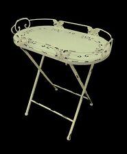 SIDE TABLE TRAY Decorative Metal Decorative Top  Distressed Antique Cream